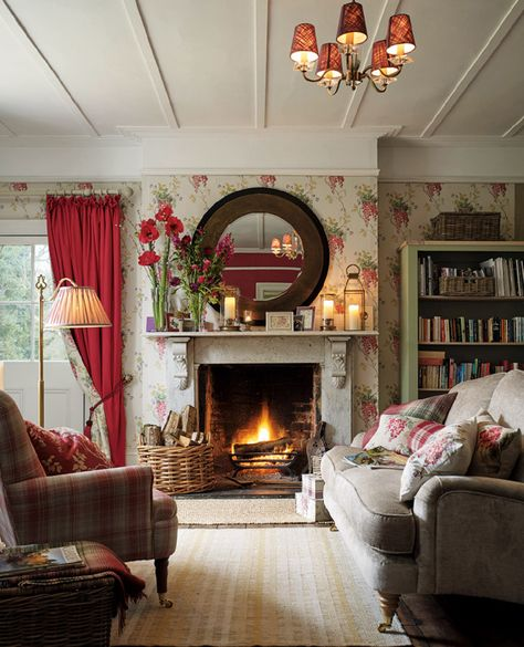 small country colourful living room with fireplace decorating idea