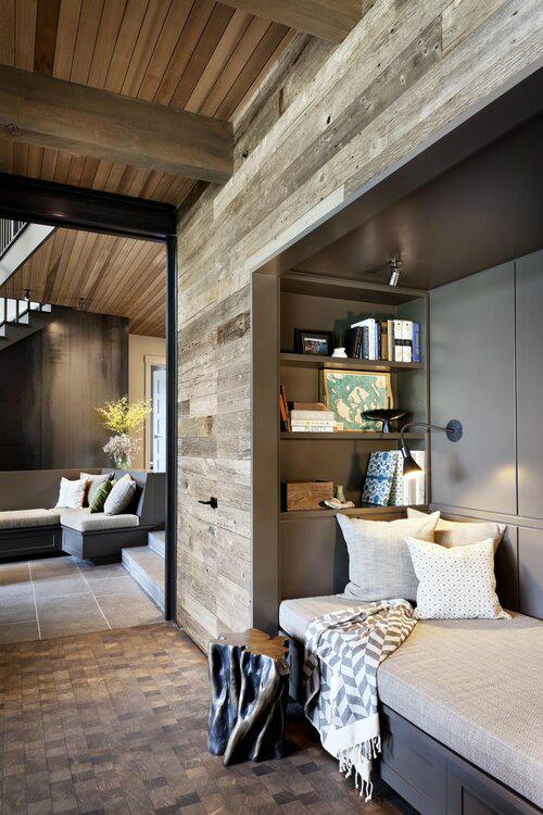 cozy modern rustic living room corner