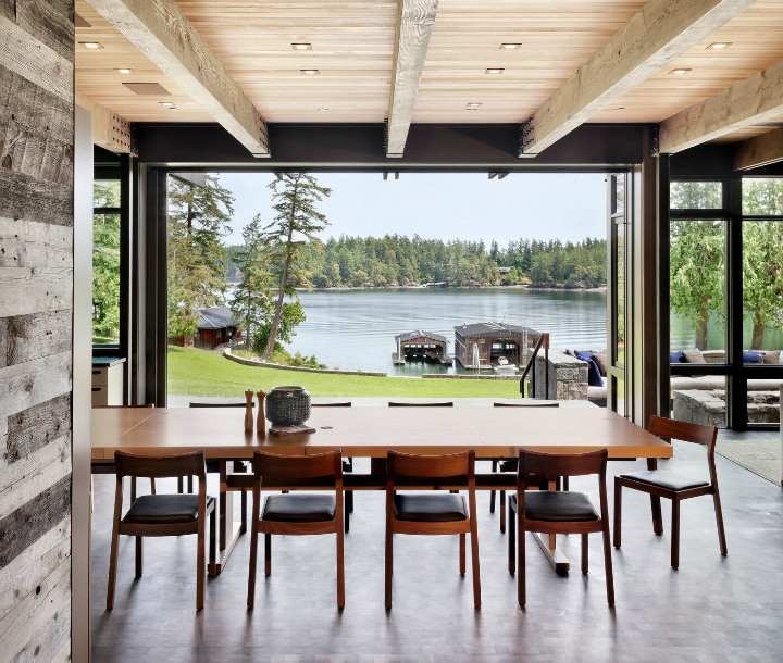 dining room with amazing lake view