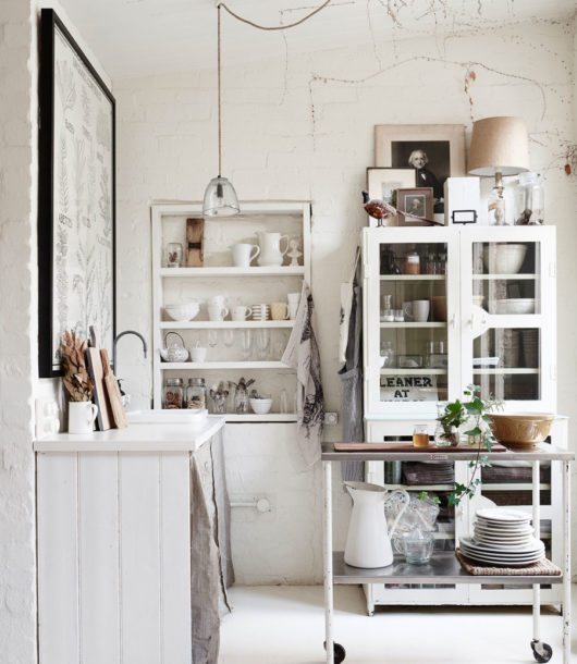 small white kitchen blending old and new design