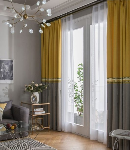 grey living room with Embroidered Yellow and Grey curtain