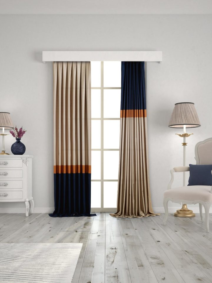 Color Block deep blue and beige Curtain Panels