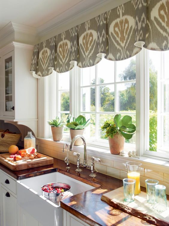 grey and beige Valance kitchen window curtain
