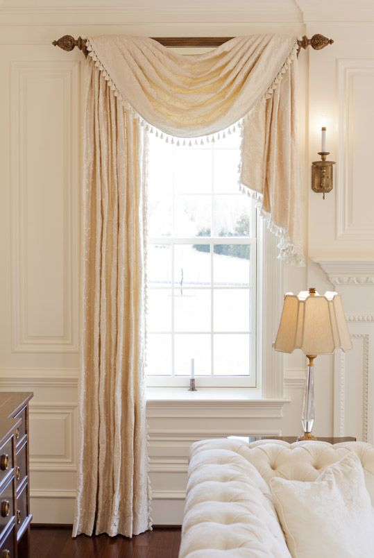 elegant living room Window Scarf curtain idea