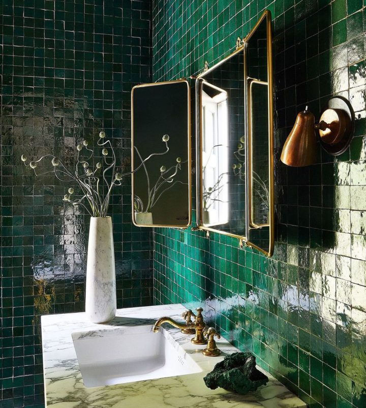 handmade green Moroccan green bathroom tiles idea