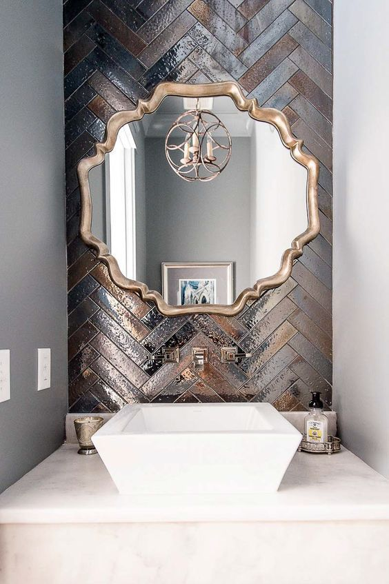 metallic bathroom tiles design idea