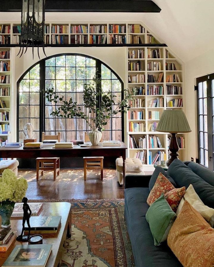 Historic Landmark living room with large built-in Bookshelves around window
