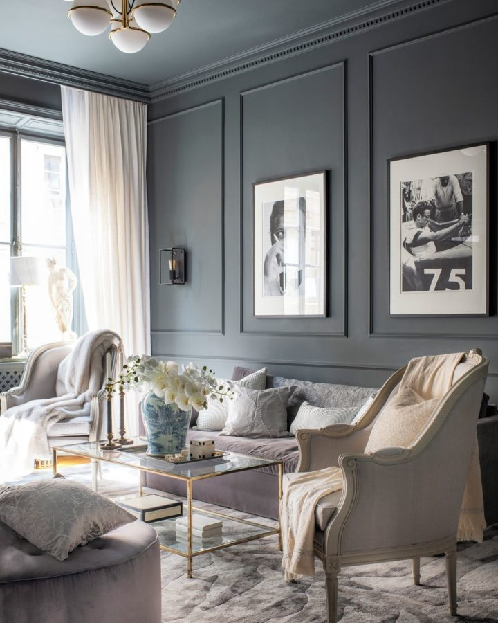 grey Elegant Ultra Modern living room with black and white photography