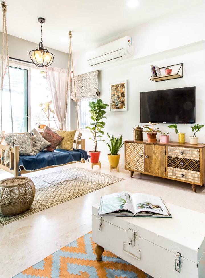Urban Boho living room with turquoise sofa living room decor idea