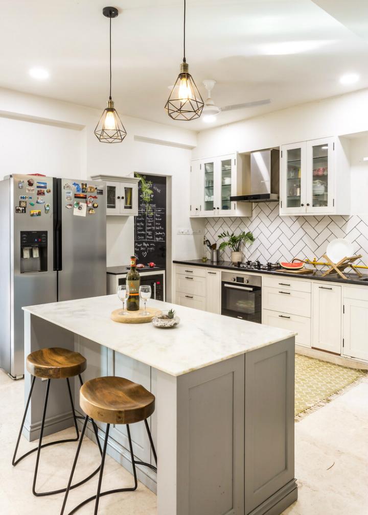 cozy white and grey kitchen design