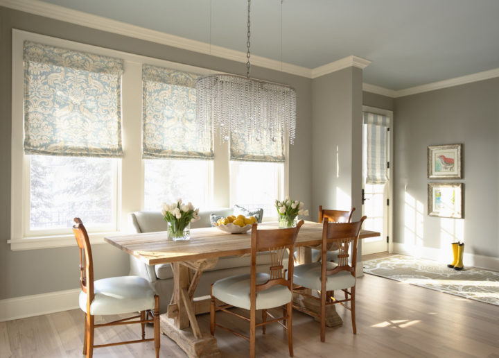 dining room Light grey color wall paint