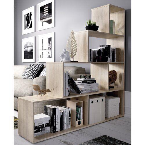 Stacked shelves room divider