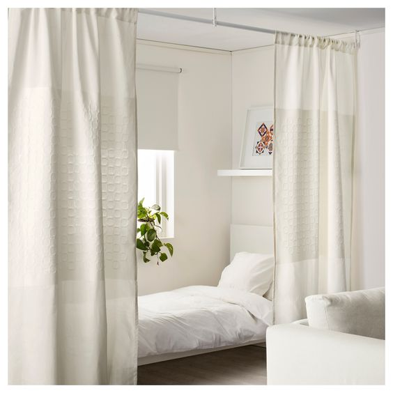 white curtains room divider