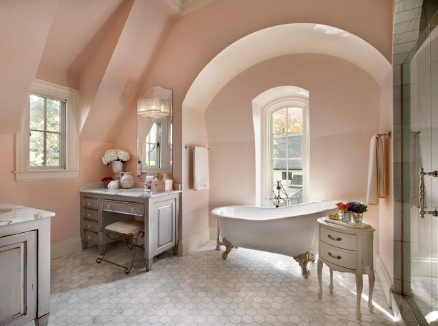 Light pink color wall paint bathroom