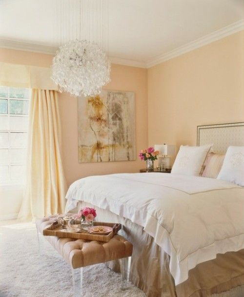 bedroom with Light peach color wall paint