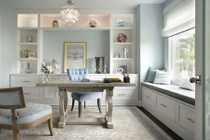 Light blue color wall paint home office
