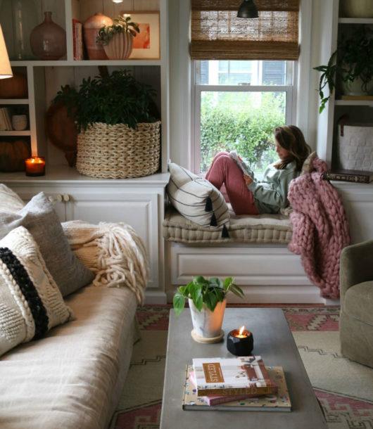 bilt in bench under living room window