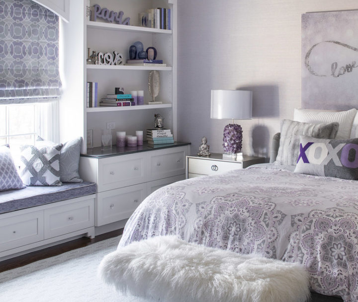 light purple teenage girls bedroom idea