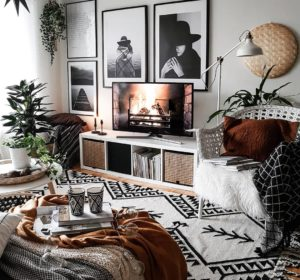 boho chic nordic living room with posters gallery TV wall