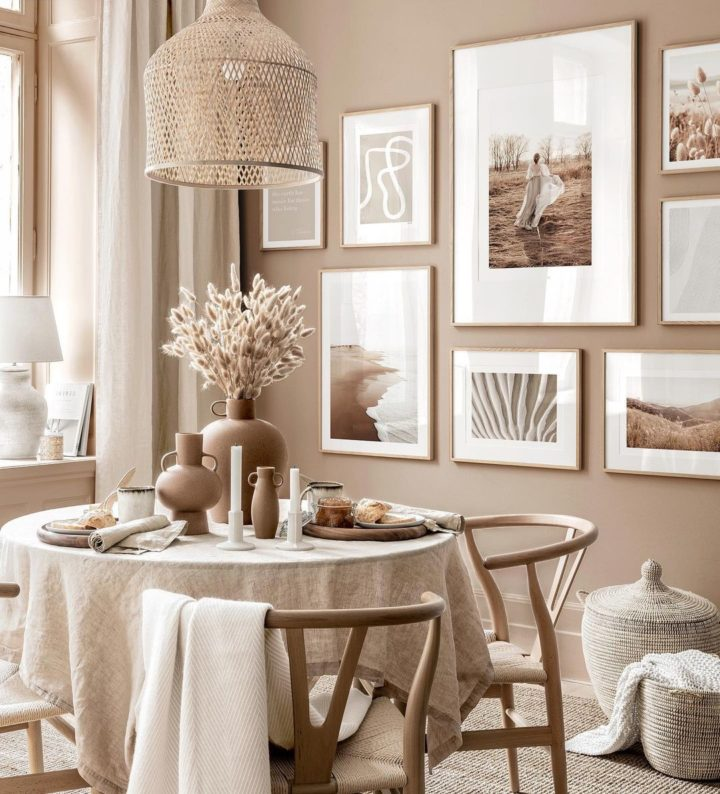 dining room with beige light brown wall and round table