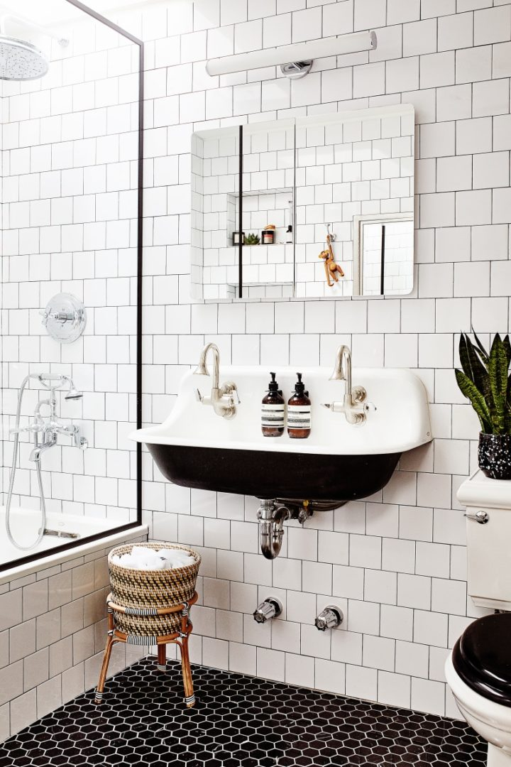 Black bathroom floor tiles