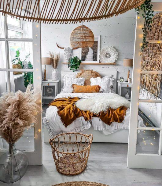 fresh boho white and rattan bedroom design idea