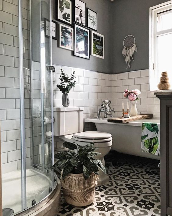 Gray and white bathroom floor tiles