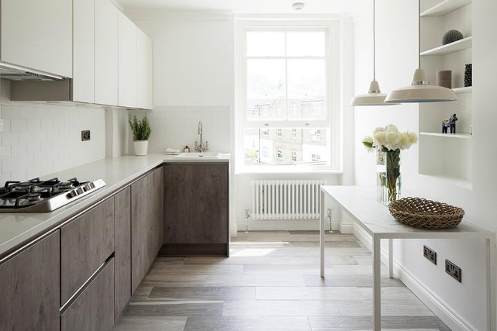 oak and white modern kitchen design