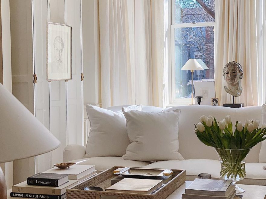 white living room Neutral Palette Mixing Old and New