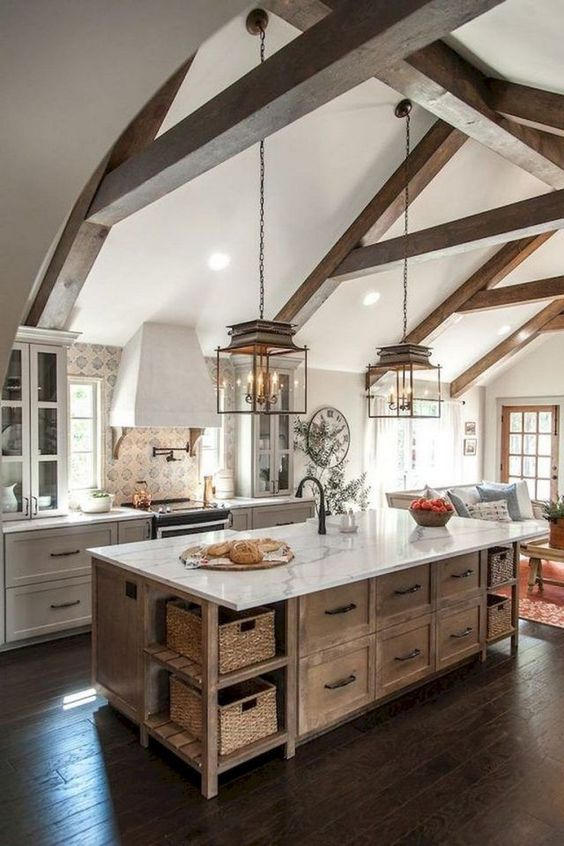 country kitchen with Reclaimed Wood island