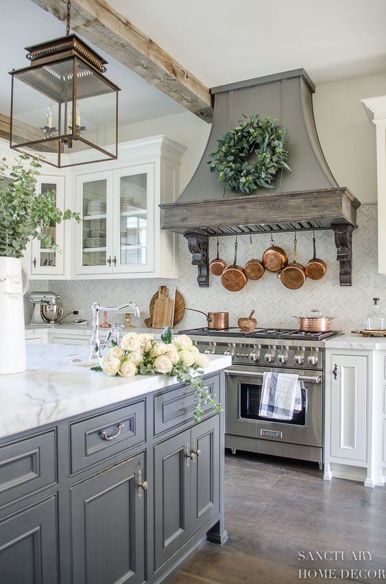 white and grey country kitchen with Glass-Front Cabinets