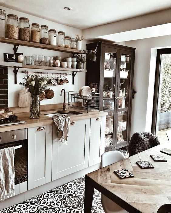 small modern country kitchen with open shelves