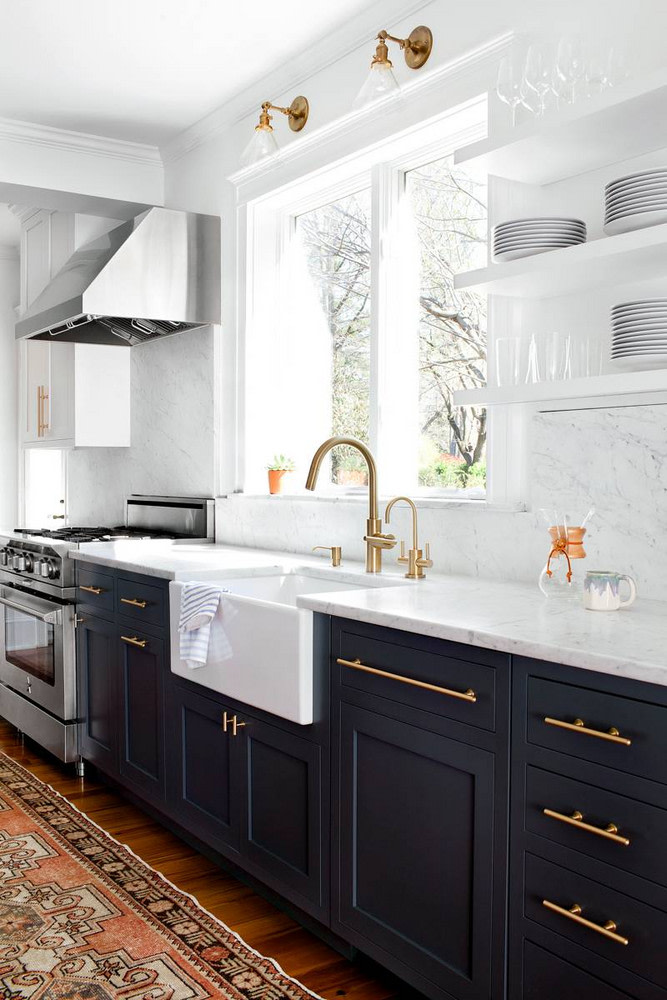 black and white Two-Tone Kitchen cabinets