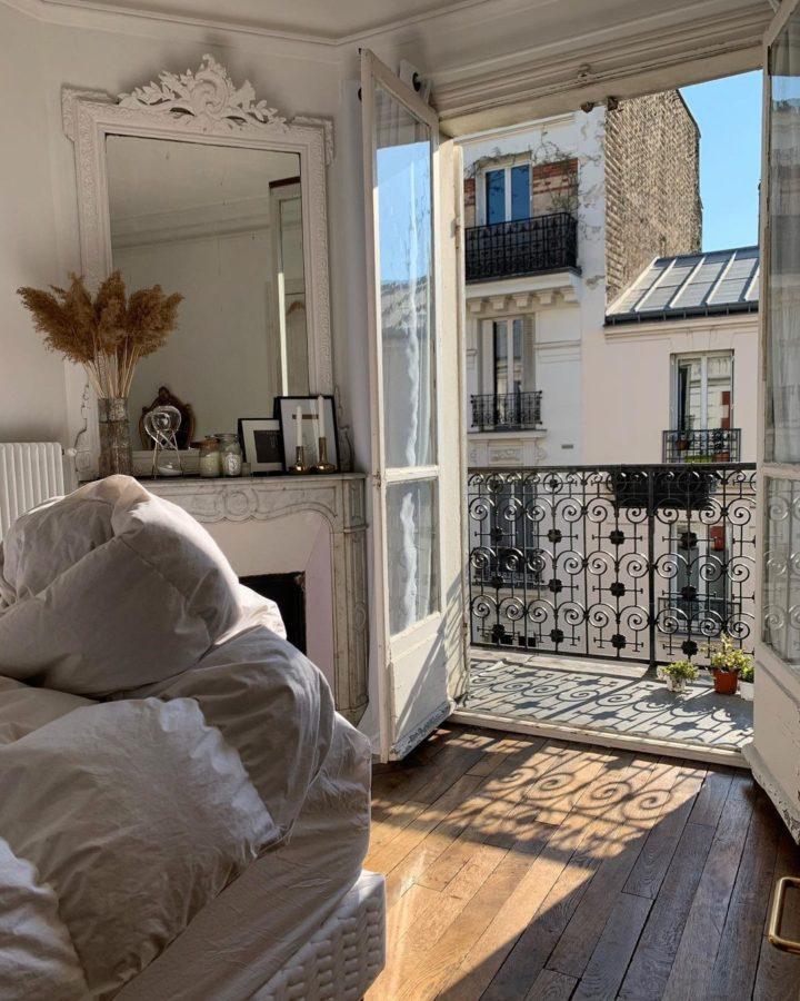 Parisian bedroom with balcony