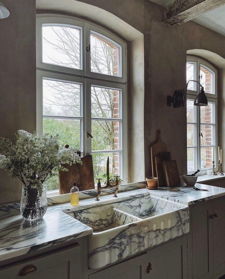 carrara marble white double kitchen sink