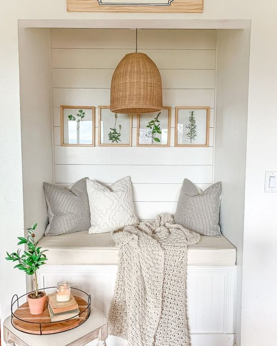 fresh reading nook with nature inspired wall art