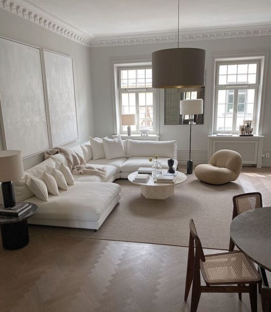 serene contemporary white living room design
