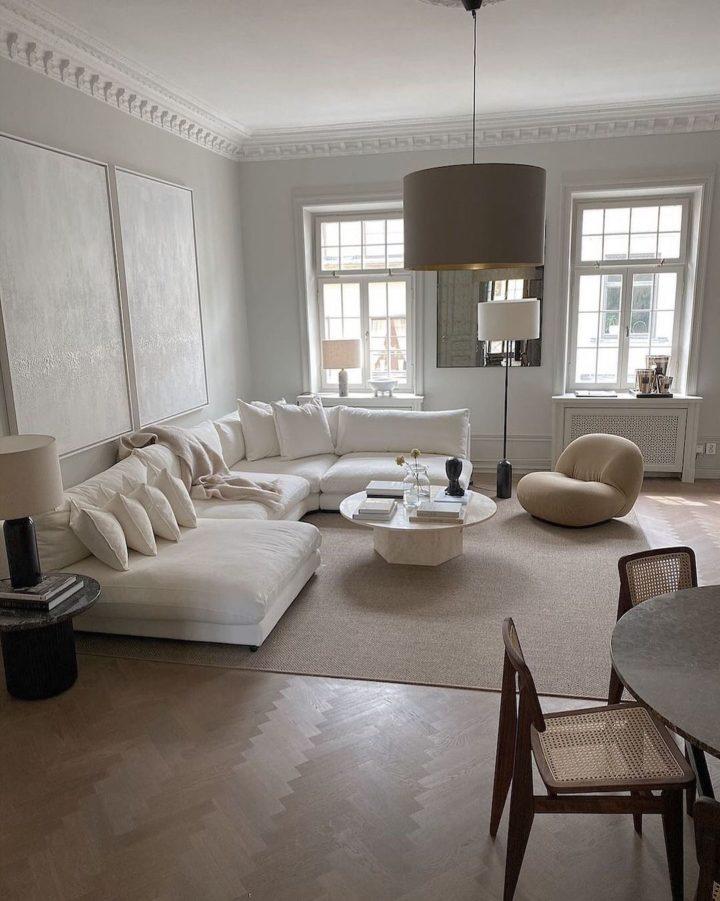 serene contemporary white living room design