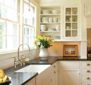 white classic kitchen design with Soapstone countertop