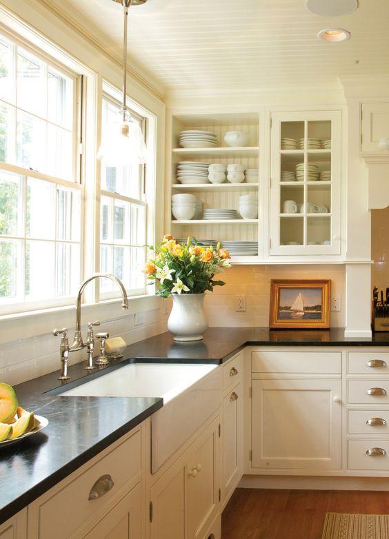 white classic kitchen design with Soapstone countertop