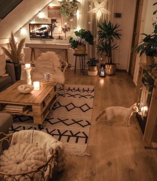 boho living room with moroccan washable rug