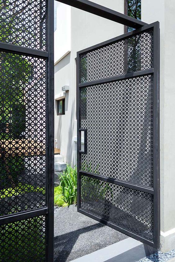 contemporary dark grey iron grill gate