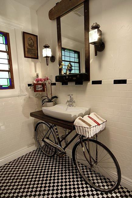 Bike vanity constructed from an old discarded bike