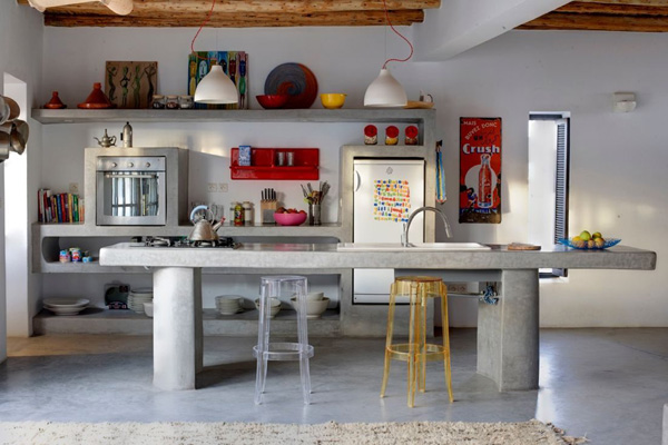 concrete kitchen in an impressive modern country house in Morocco