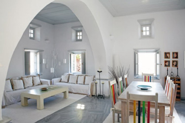 house interior with ancient greek and byzantine tradition