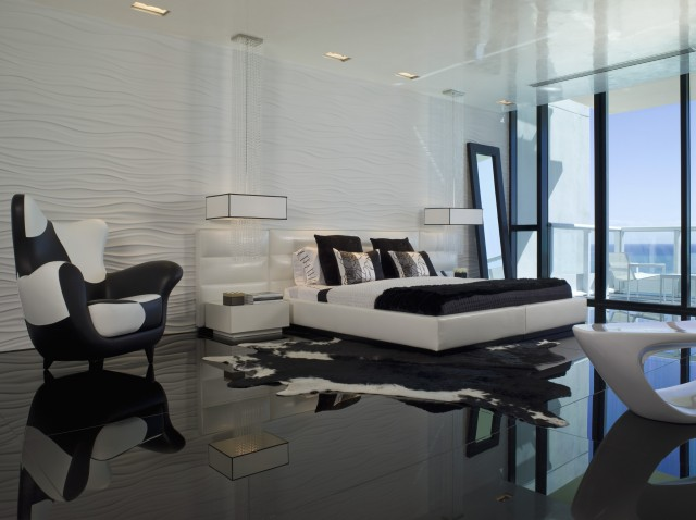 modern black and white bedroom by Nieto Design Group