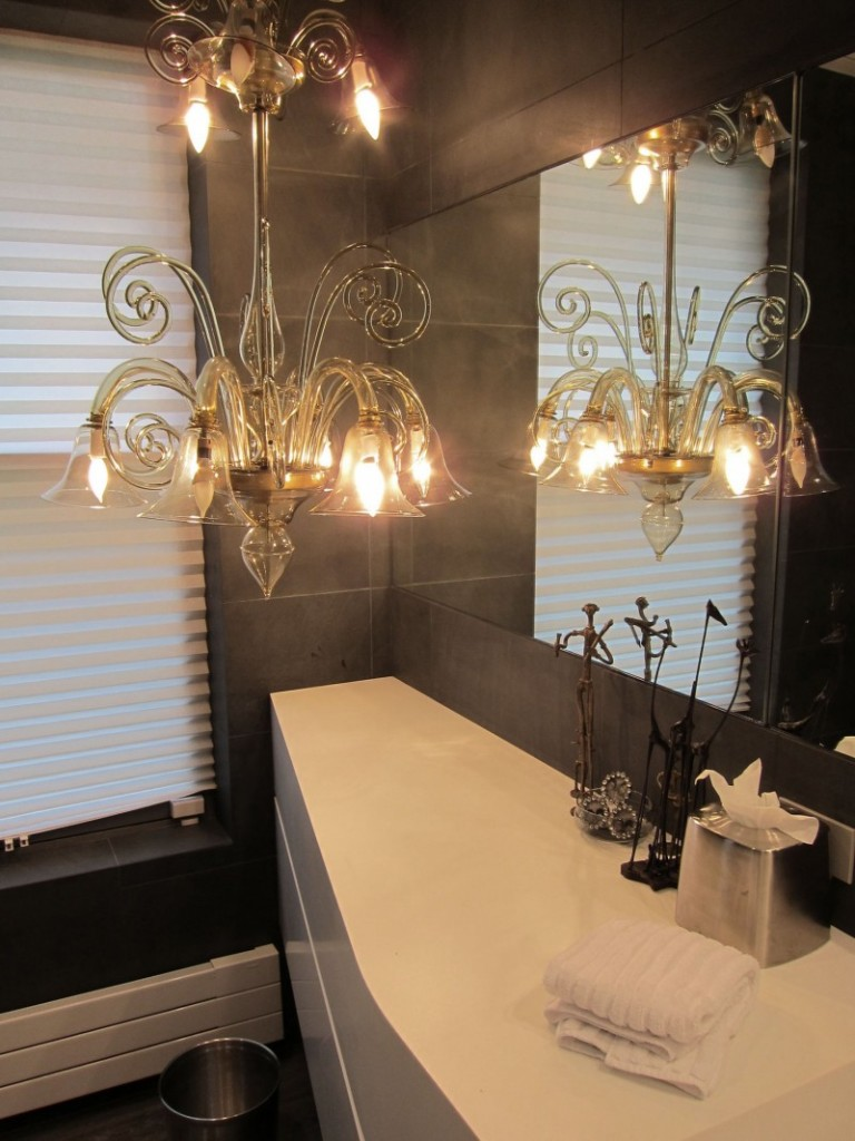 contemporary bathroom with chandelier 2 interior design ideas