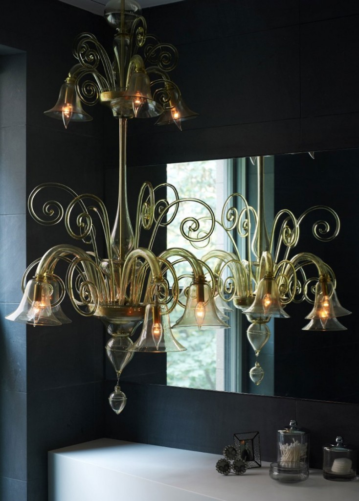 contemporary bathroom with chandelier 3 ideas