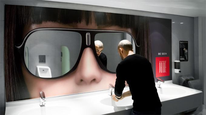 Mirror like sunglasses in the bathroom