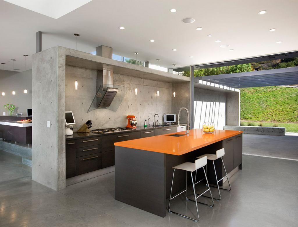 11 Amazing Concrete Kitchen Design Ideas - Decoholic on Modern Kitchen Counter Decor  id=77158
